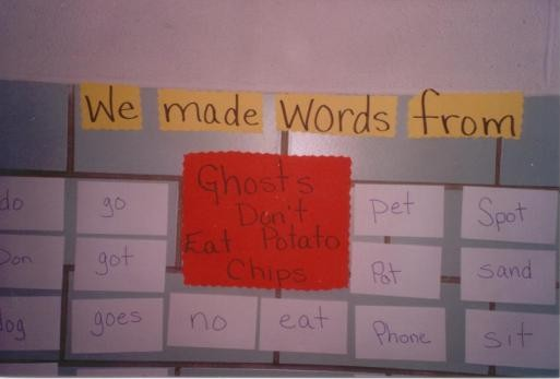 Ghosts Don't Eat Potato Chips word wall