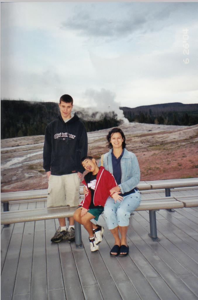 Debbie and her two favorite sons at Yellowstone National Park