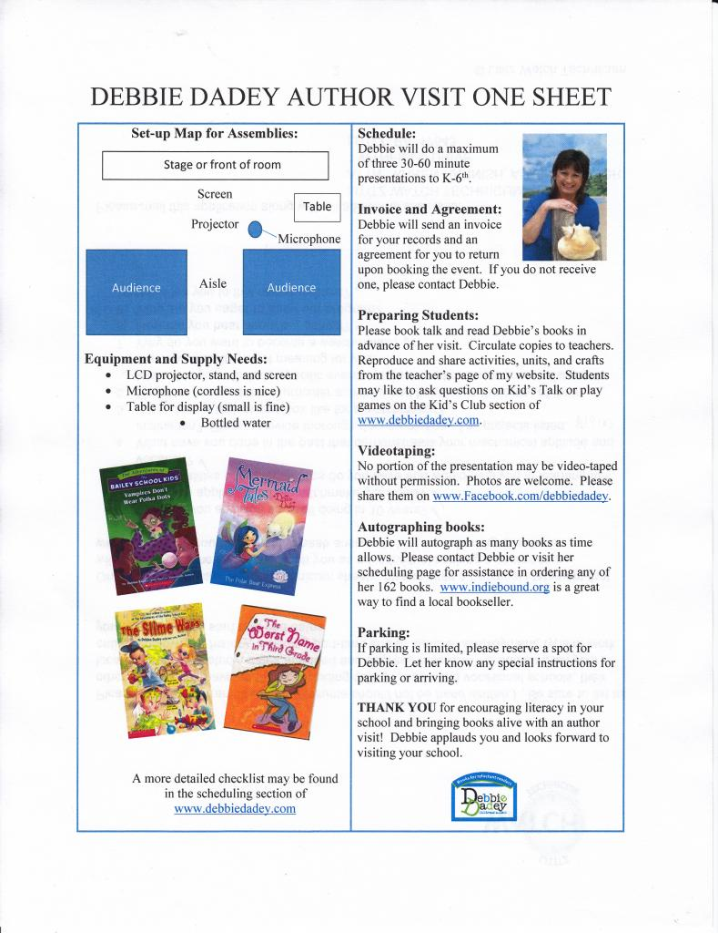 Author visit one sheet